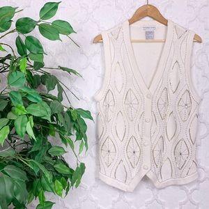 Vintage White Bead Embellished Sweater Vest